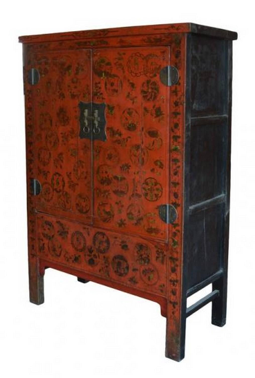 Antique Chinese Chinoiserie Red Lacquer Cabinet Or Armoire For Sale At 1stdibs