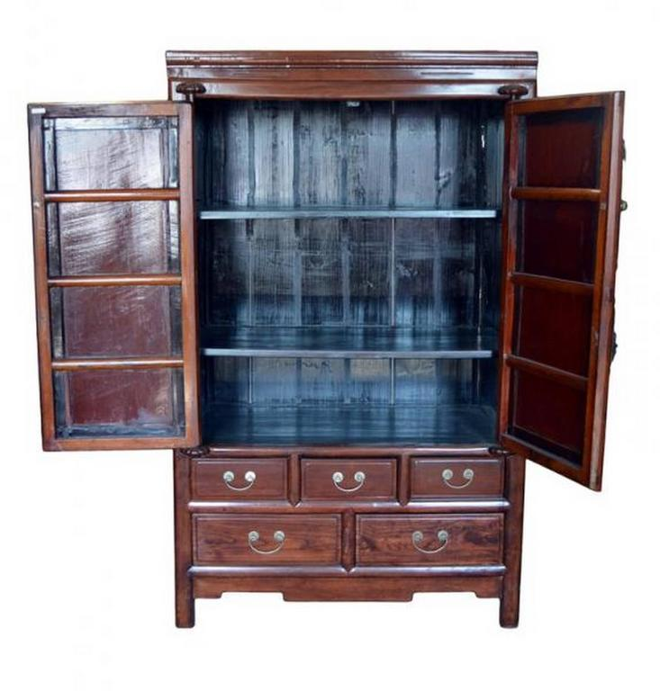 Chinese Antique Blackwood And Rosewood Lacquered Cabinet From 19th Century  China For Sale