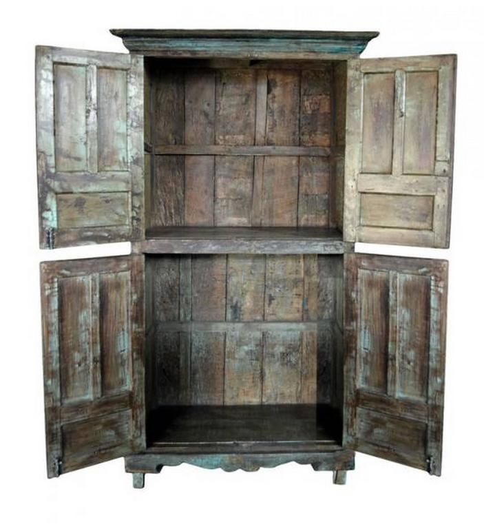 Hand Painted Vintage Goan Indian Hand Painted Cabinet With Four Doors And  Substantial Storage For
