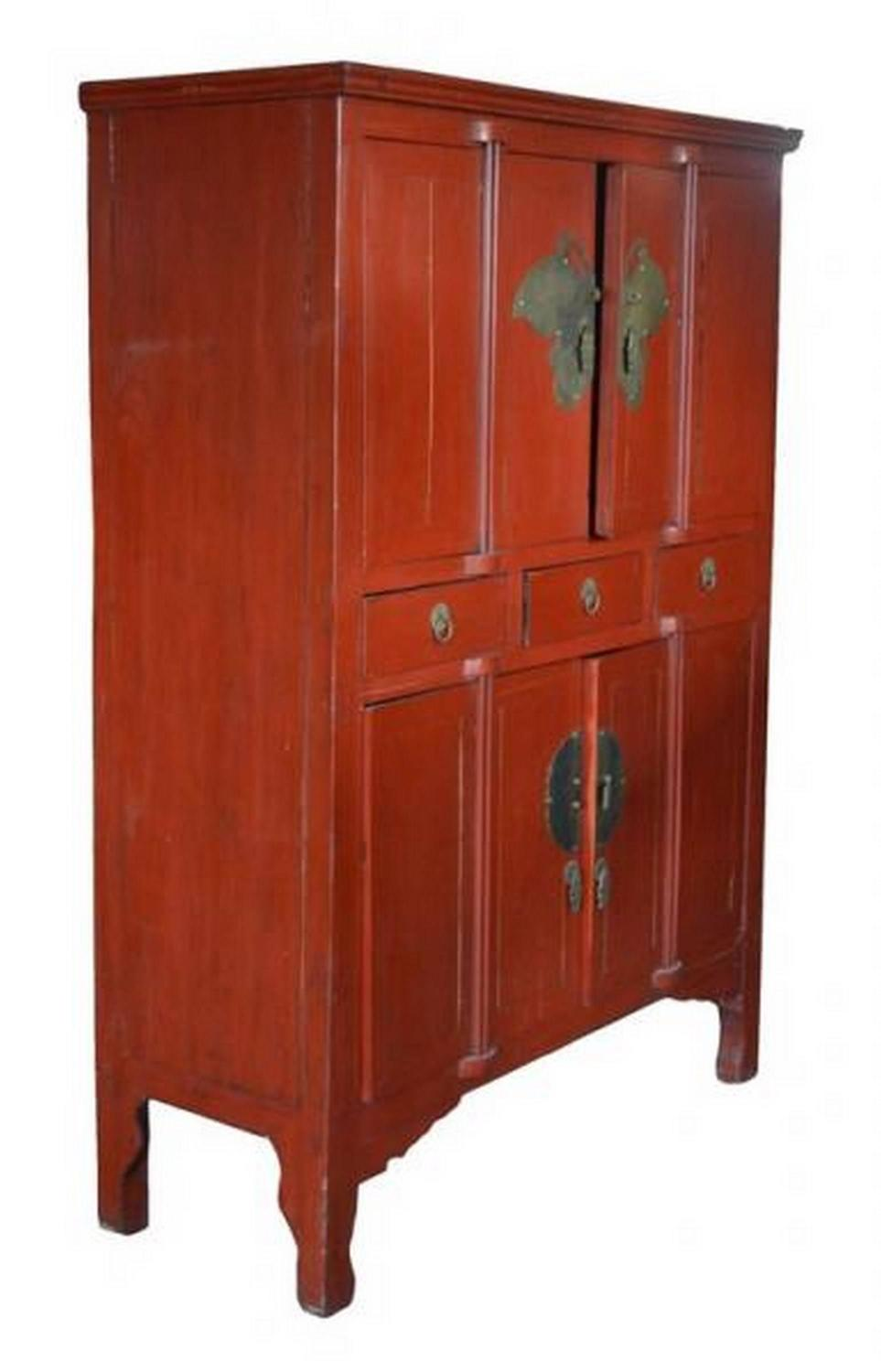 Antique chinese red lacquer butterfly cabinet at 1stdibs for Red chinese furniture
