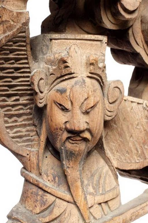 Pair of 19th Century Chinese Hand-Carved Temple Corbels with Characters For Sale 1