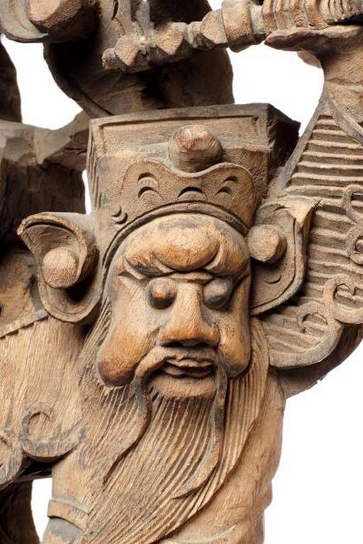 Wood Pair of 19th Century Chinese Hand-Carved Temple Corbels with Characters For Sale
