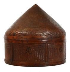 Antique Handwoven Round Wicker Grain Basket from 19th Century, China