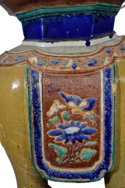 Antique Hand Painted Annamese Ceramic Garden Stool From
