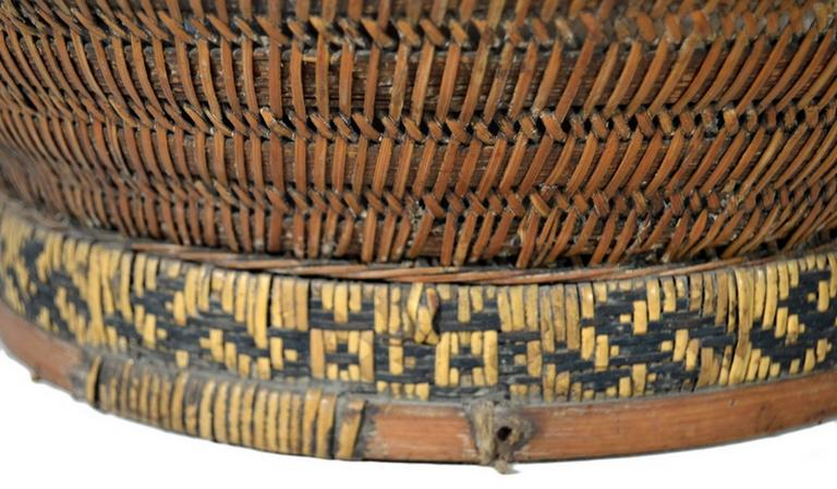 e23cb700 A 19th century Chinese grain basket handwoven of cane and bamboo. In 19th  century China