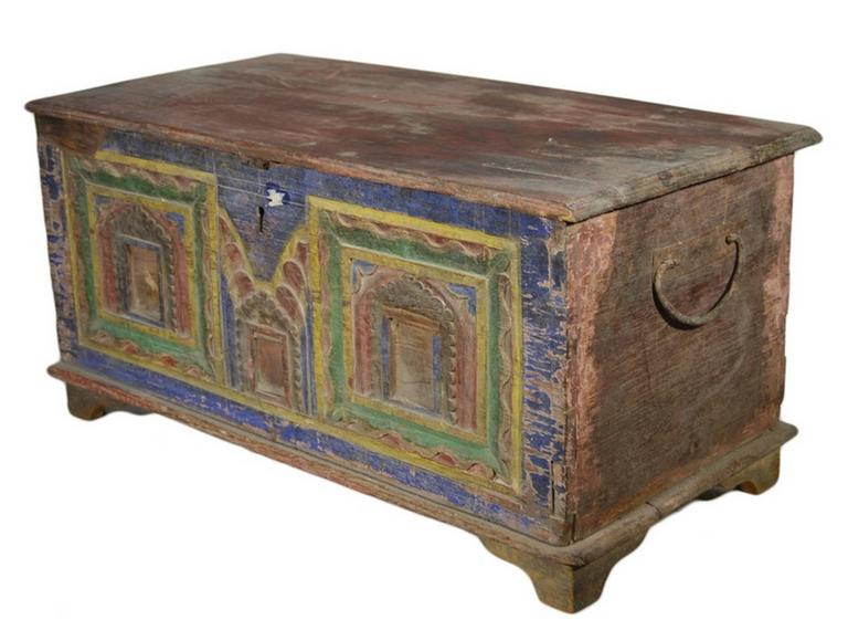 Antique Indian Hand-Carved and Painted Trunk with Patina ...