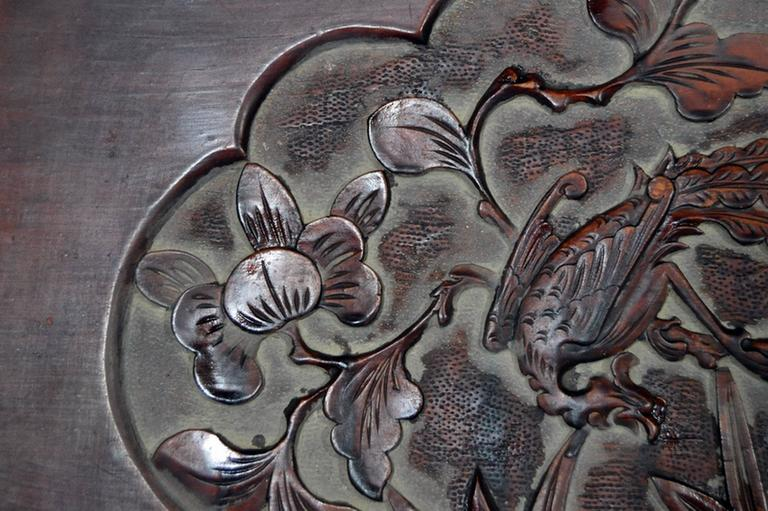 Antique Chinese Hand-Carved Rosewood Lacquered Wooden Wall Plaque In Good Condition For Sale In Yonkers, NY
