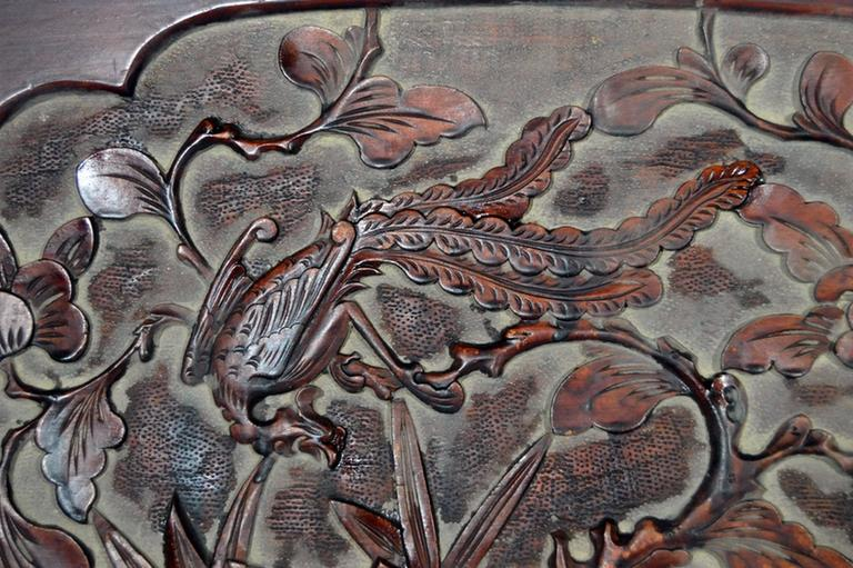 Antique Chinese Hand-Carved Rosewood Lacquered Wooden Wall Plaque For Sale 1