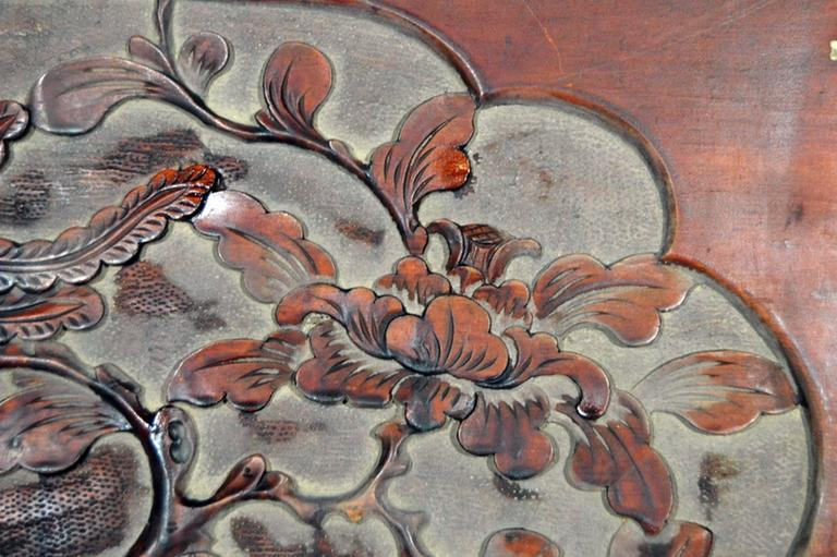 19th Century Antique Chinese Hand-Carved Rosewood Lacquered Wooden Wall Plaque For Sale