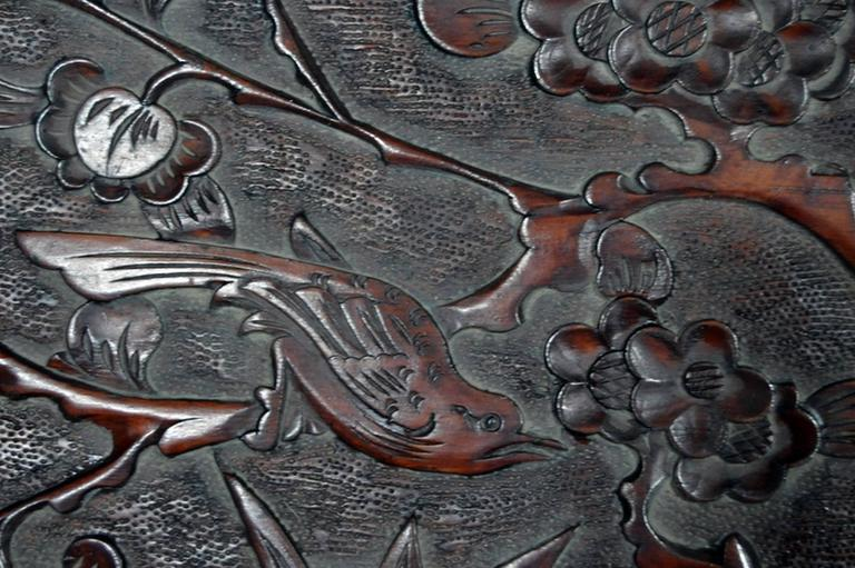Chinese Antique Hand-Carved Lacquered Rosewood Wall Plaque from China, 19th Century For Sale