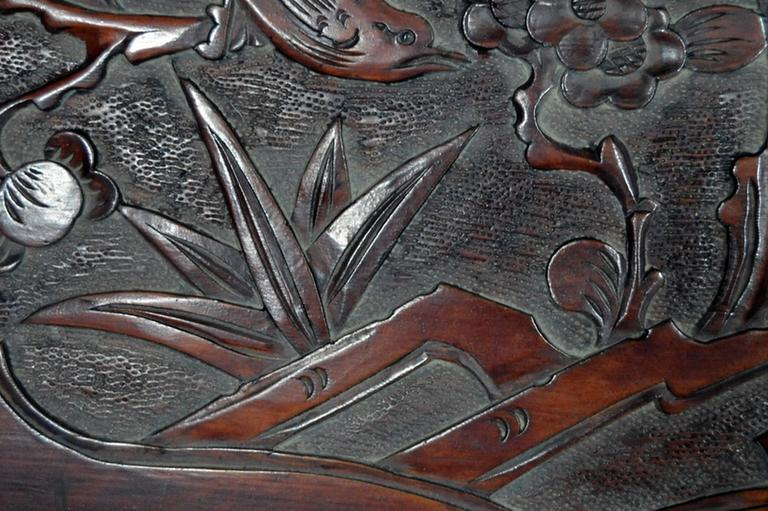 Antique Hand-Carved Lacquered Rosewood Wall Plaque from China, 19th Century For Sale 2