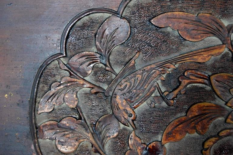 Chinese 19th Century Hand-Carved Rosewood Lacquered Bird and Foliage Wall Plaque In Good Condition For Sale In Yonkers, NY