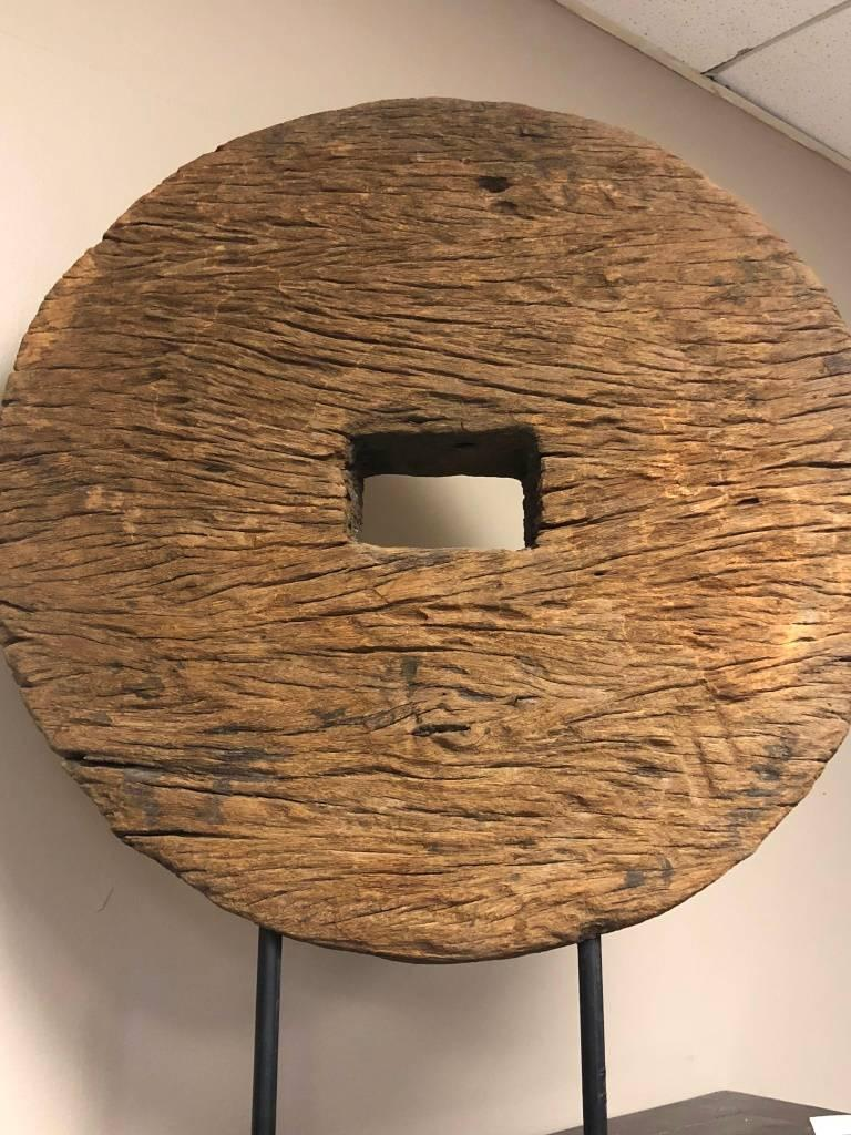antique rustic mounted ox cart wooden wheel on base from