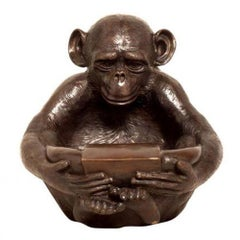 Lost Wax Cast Bronze Sculpture of a Sitting Monkey Holding a Bowl