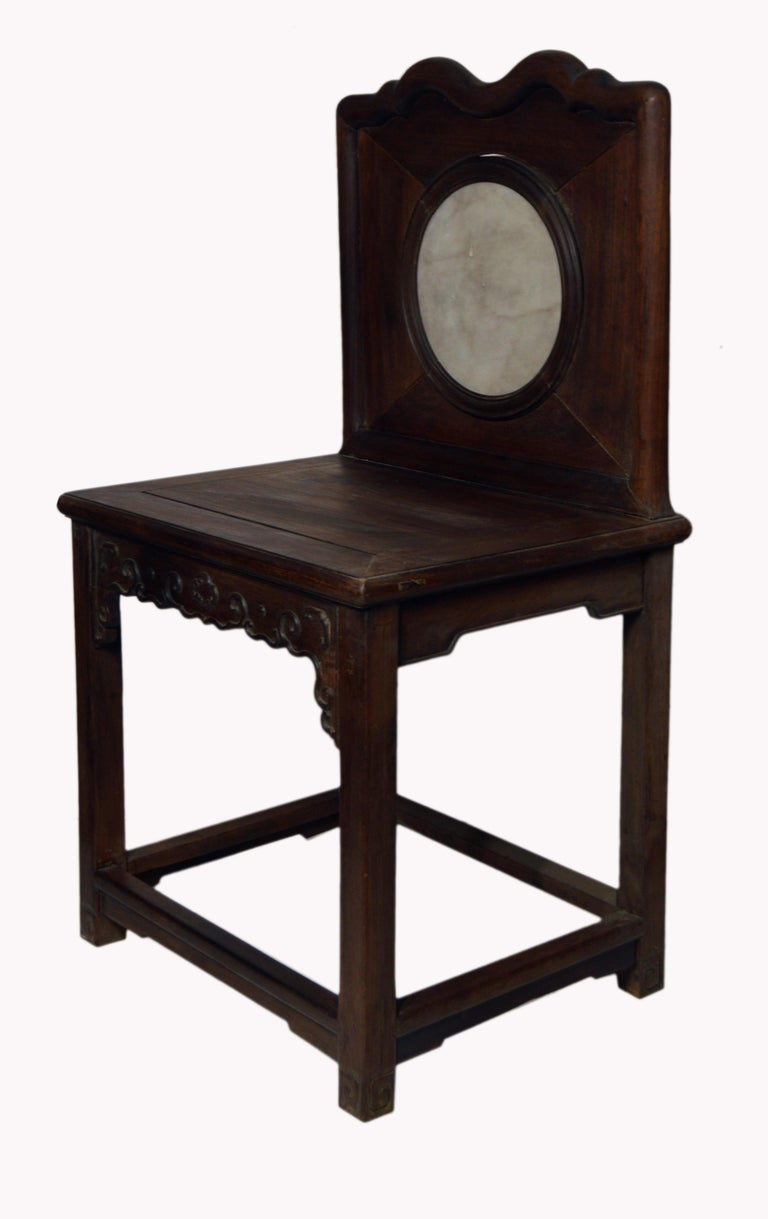 Elm Chinese 19th Century Dark Lacquered Yumu Wood Accent Chair with Marble Medallion For Sale