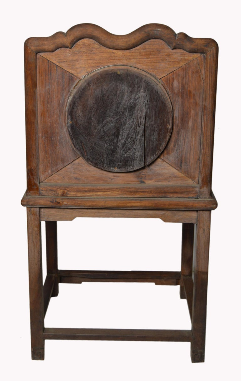 Chinese 19th Century Dark Lacquered Yumu Wood Accent Chair with Marble Medallion For Sale 2