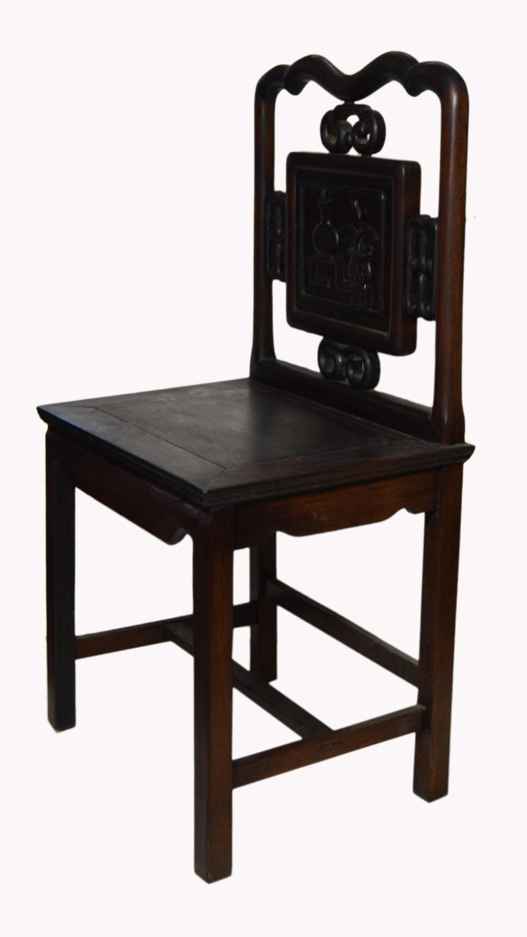 Elm Antique Chinese Lacquered Yumu Wood Side Chair with Hand-Carved Décor For Sale