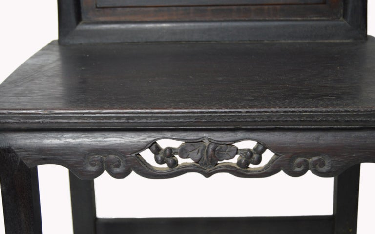 Hand-Carved Yumu Wood Chinese 19th Century Side Chair with Foliage and Scrolls In Good Condition For Sale In Yonkers, NY