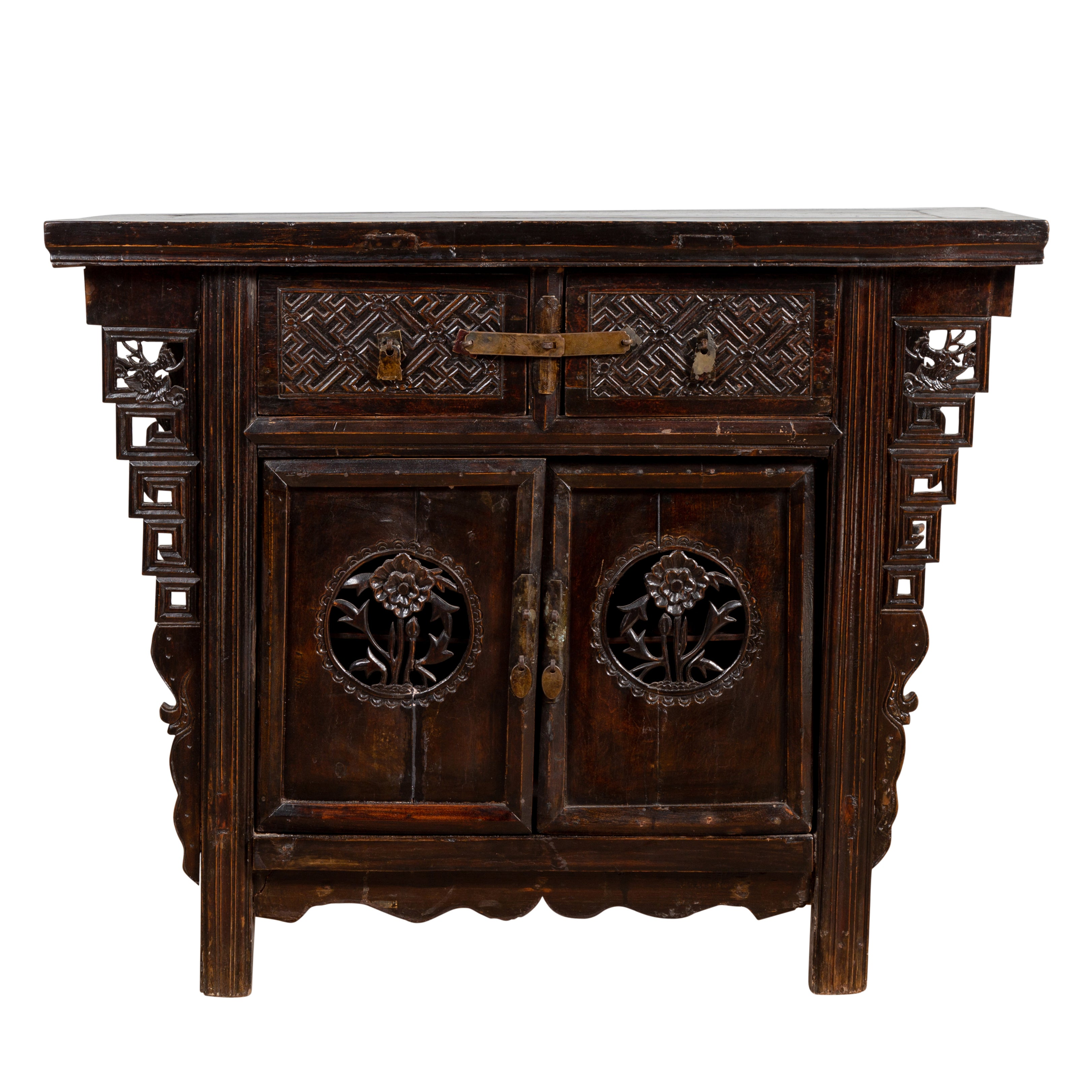 Chinese Ming Dynasty Style Butterfly Cabinet with Carved Spandrels and Doors
