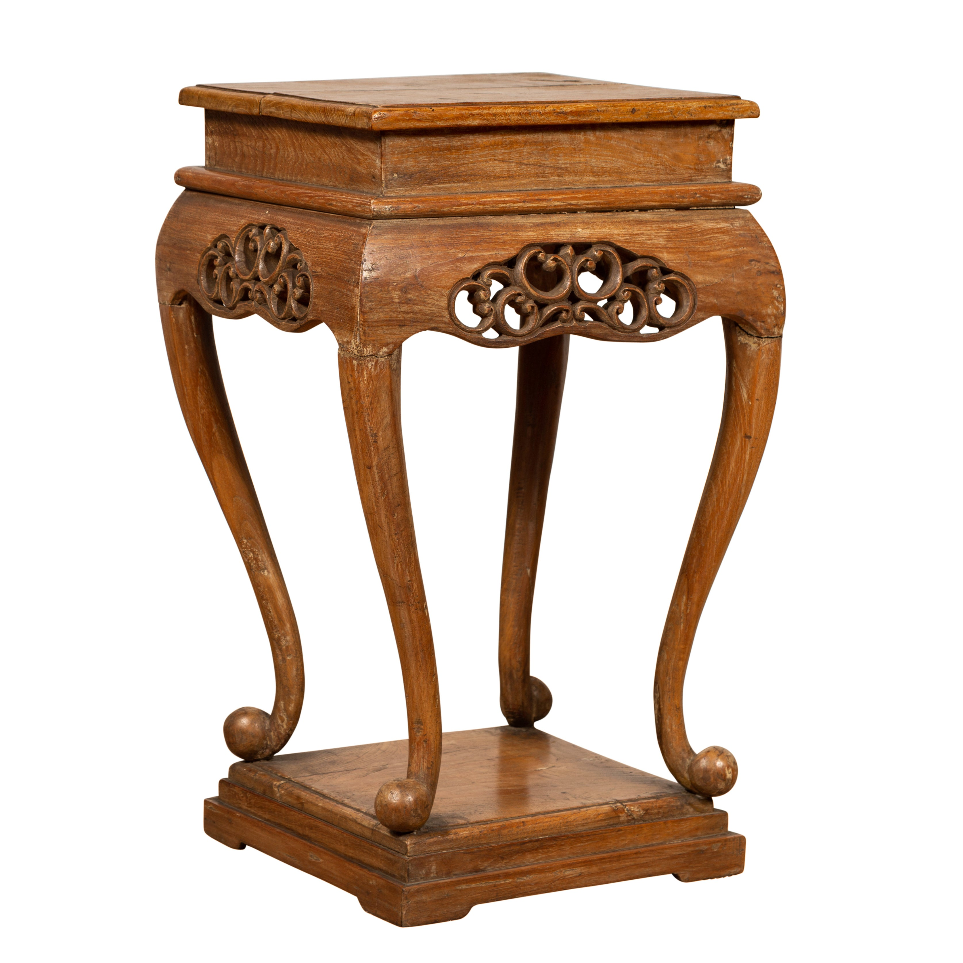 Chinese Ming Style Wooden Incense Stand with Cabriole Legs and Carved Apron