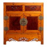 Early 20th Century Chinese Cabinet Made of Elm and Burl Wood with Carved Skirt