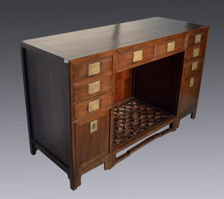 Brass Antique Fretwork Desk with Bronze Hardware and Drawers from China, 19th Century For Sale