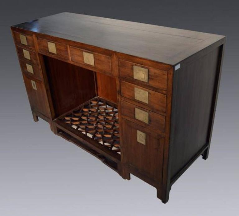 Antique Fretwork Desk with Bronze Hardware and Drawers from China, 19th Century In Excellent Condition For Sale In Yonkers, NY