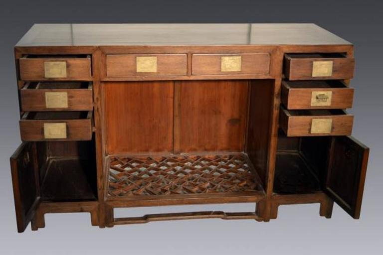 Chinese Antique Fretwork Desk with Bronze Hardware and Drawers from China, 19th Century For Sale