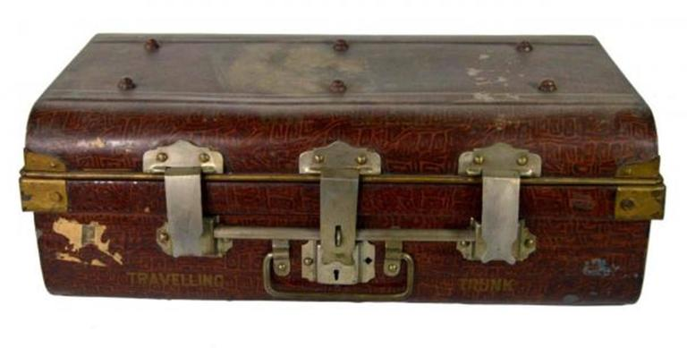 Antique British Wilkes And Son Locked Metal Trunk For Export Circa 1800s For Sale At 1stdibs