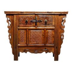 Antique Intricately Chinese Carved Altar Coffer with Two Drawers over Doors