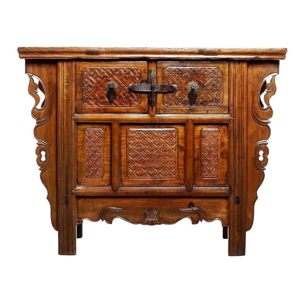 Antique Intricately Chinese Carved Altar Coffer with Two Drawers ...