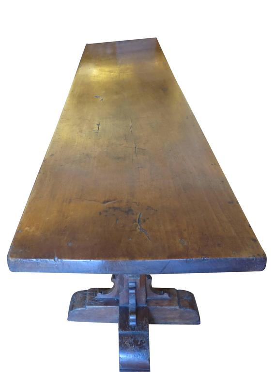 Incredible Single Plank Walnut 17th Century Trestle Dining