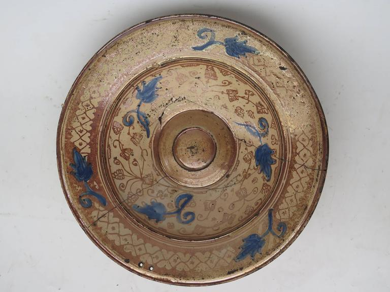 16th Century Spanish Hispano Moresque Copper Lustre Charger In Good Condition For Sale In Montecito, CA