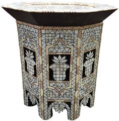 Moroccan White Mother-of-Pearl Side Table