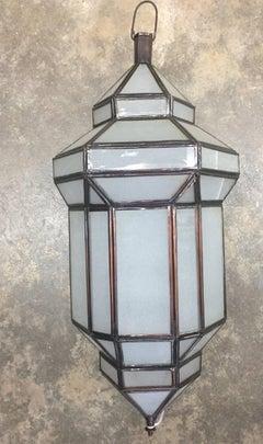 """Jaime"" Small Milk Glass Moroccan Lantern"