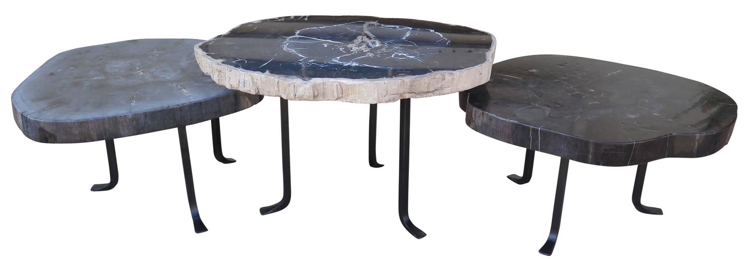 Group of petrified wood nesting coffee tables for sale at