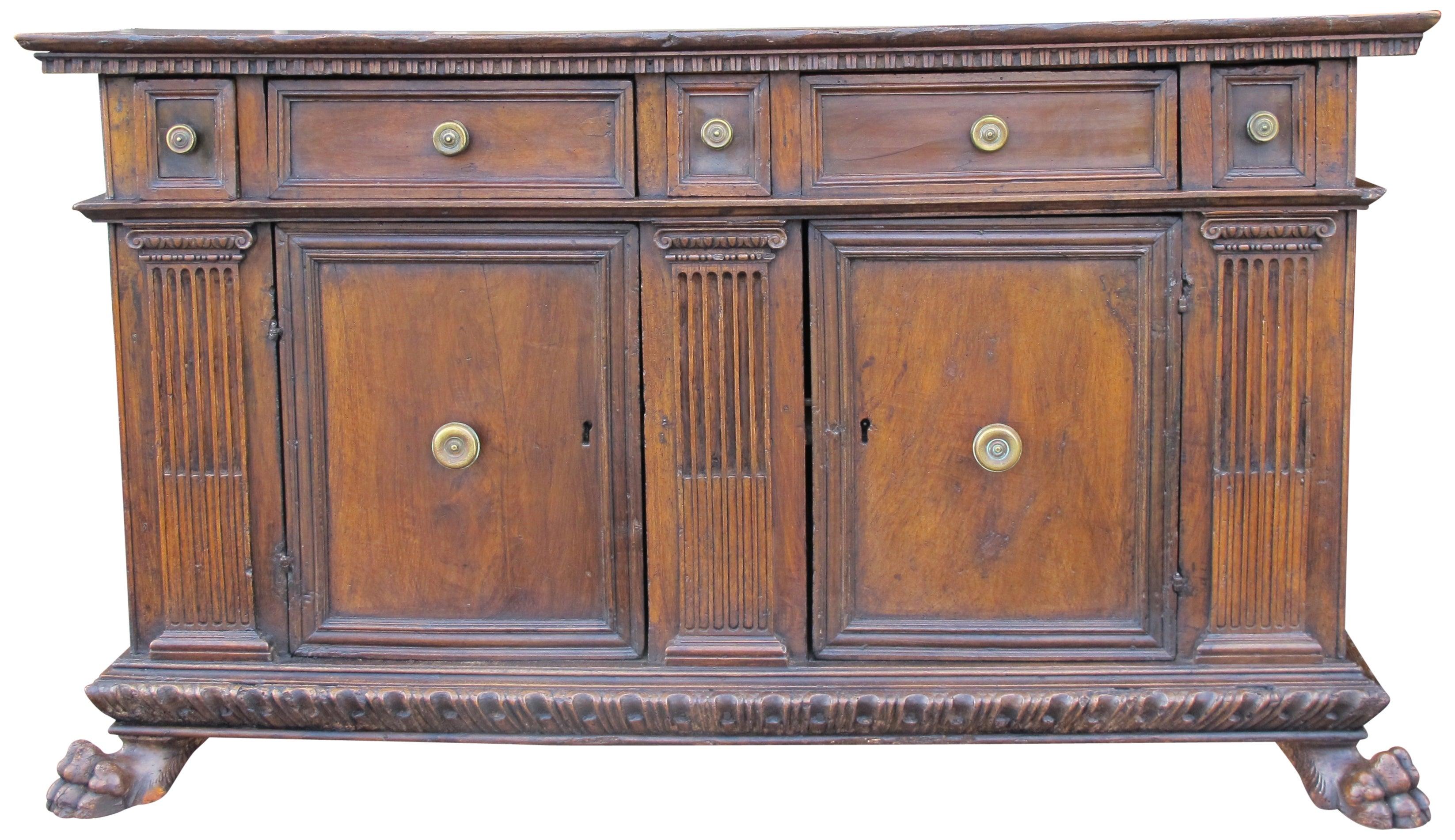 Rare, Walnut 16Th Century Italian Credenza Cabinet, Tuscany For Sale