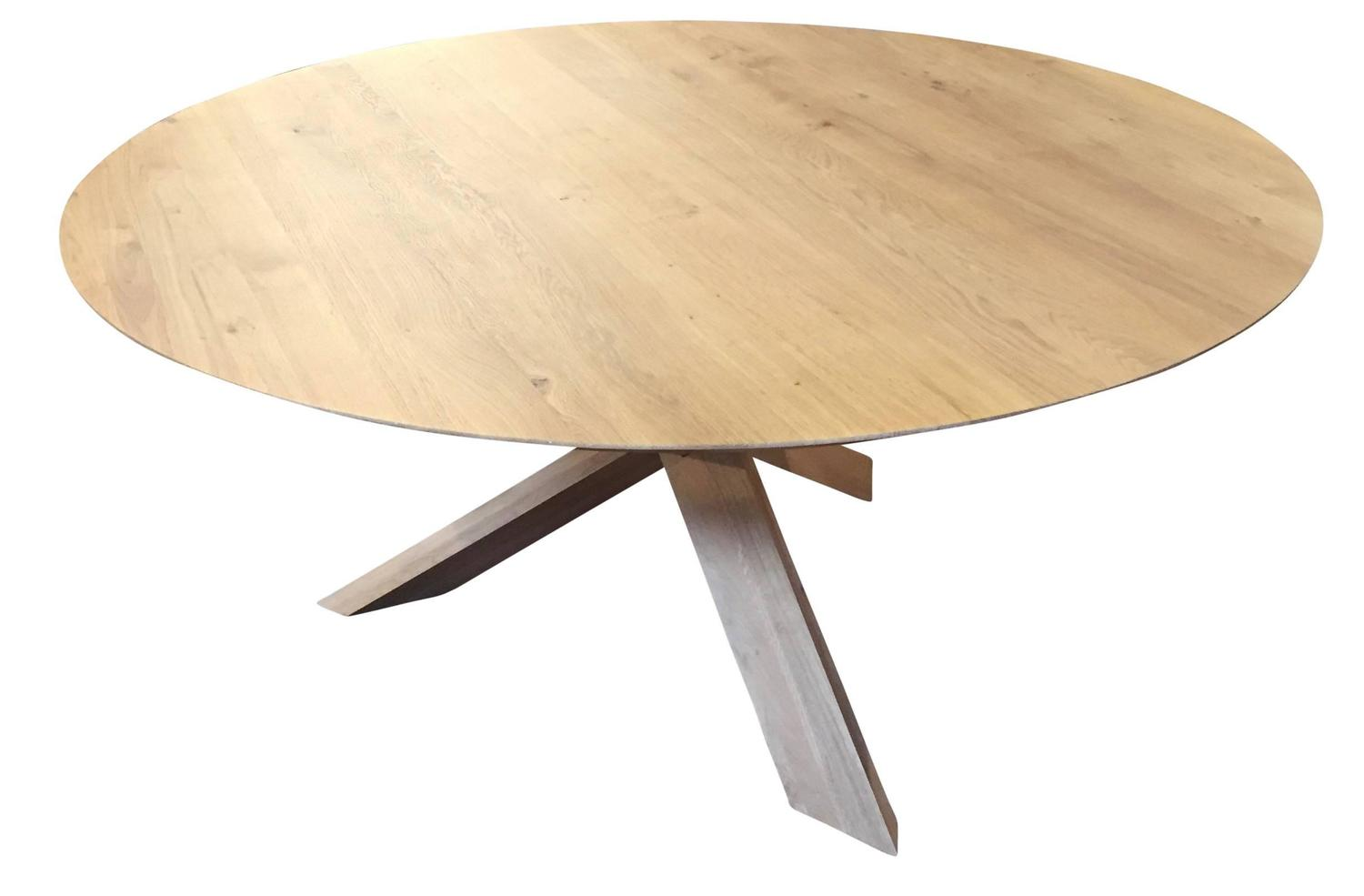 Modern large white oak round dining table haskell design for Large round modern dining table