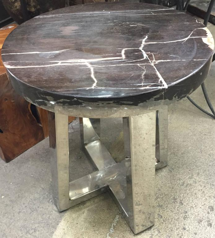 Petrified wood and chrome side table for sale at stdibs