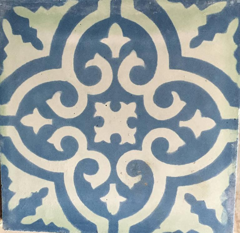 granada blue white cement tiles haskell for sale at 1stdibs