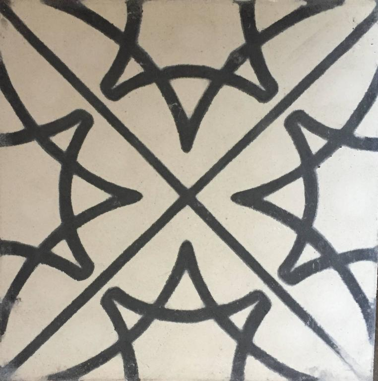Stella Star Black And White Cement Tiles Haskell For Sale