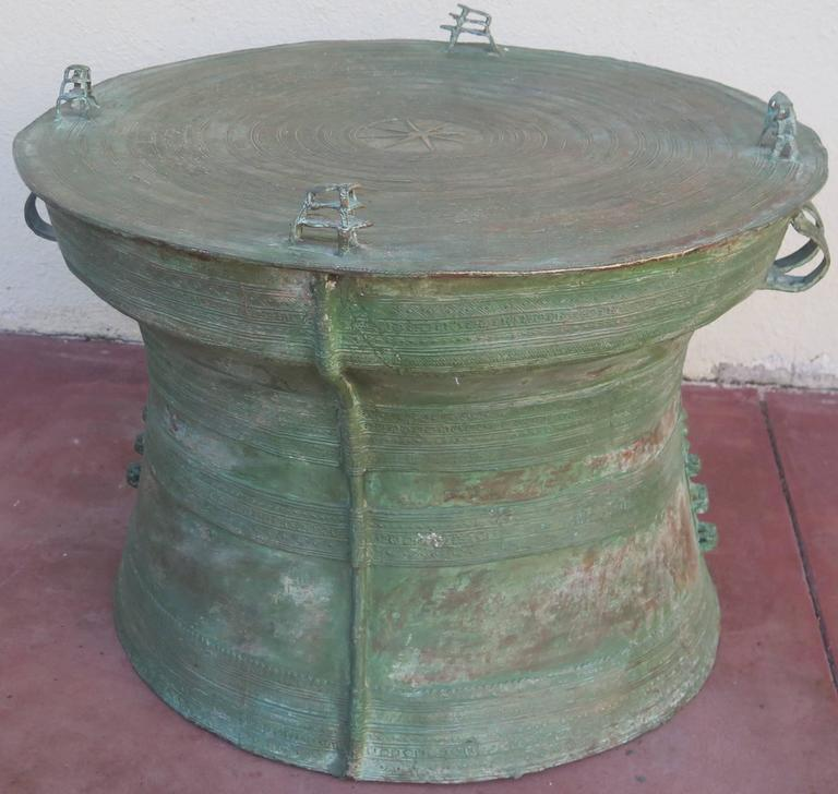 Large Beautiful Bronze Rain Drum Side Table Cocktail Table For Sale At 1stdibs