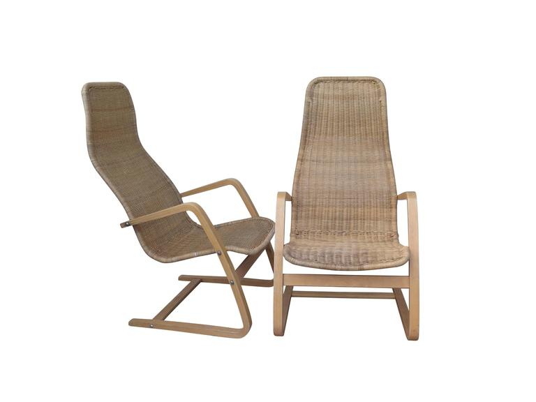 Great Pair of Mid-Century Modern Swedish Chairs Wicker Bentwood In Good Condition For Sale In Montecito, CA