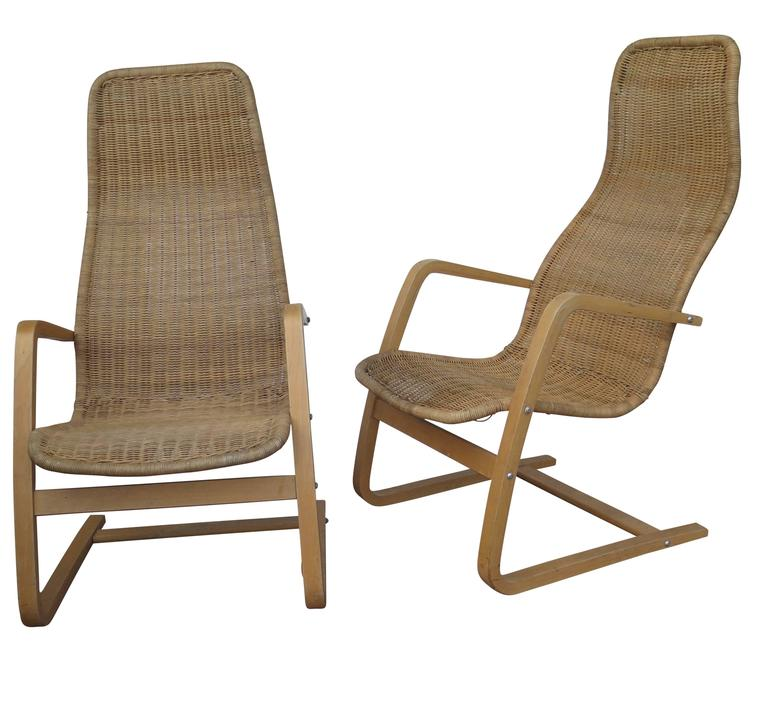 Great Pair Of Mid Century Modern Swedish Chairs Wicker Bentwood For Sale At 1