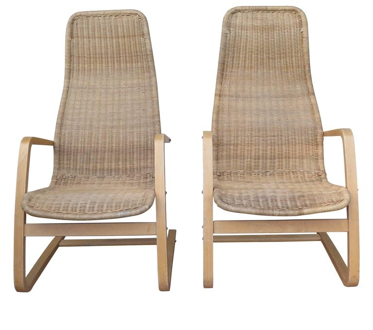 Awesome pair of bentwood Swedish chairs with wicker seat.