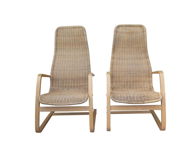 Great Pair of Mid-Century Modern Swedish Chairs Wicker Bentwood For Sale 1