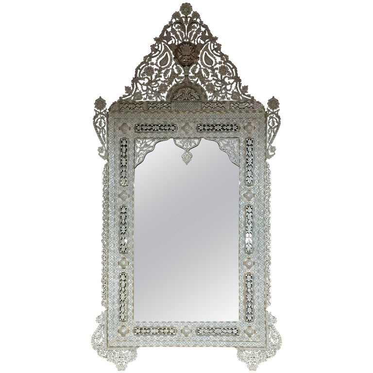 Massive Syrian Inlay Mother-of-Pearl Mirror Haskell