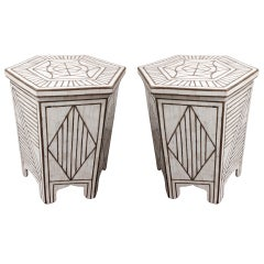Pair of Bone and Brass Hexagonal Moorish Side Table with Brass Inlay