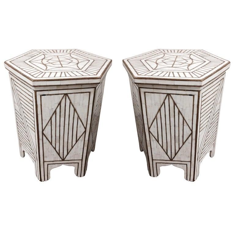 Pair of Bone and Brass Hexagonal Moorish Side Table with Brass Inlay