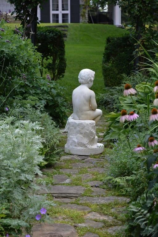 Carved Marble Statue of a Youth In Excellent Condition For Sale In Katonah, NY